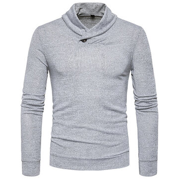 Men's Casuall Pile Heap Collar Pullover Brief Pure Color Long Sleeve Sweater Pullover