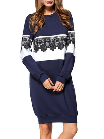 Casual Women Long Sleeve Lace Crochet Patchwork Sweatshirt Dress
