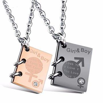 vendimia Girl Boy Couple Book Love Word Collar Cumpleaños Citas Regalo de la joyería