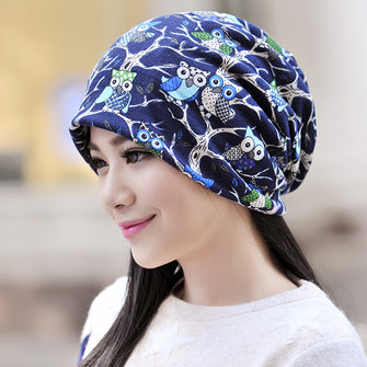 Women Owl Pattern Slouchy Multi-function Beanie Cap