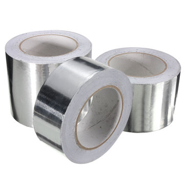 50m Aluminum Foil Conductive Tape EMI Shielding Duct Insulation Self Adhesive Tape 3 Widths