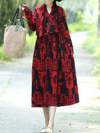 Folk Style Floral Printed Long Sleeve Vintage Dress