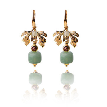 Ethnic Jewelry Vintage Handmade Earrings Luxury Gold Leaf Jade Charm Dangle Earring for Women