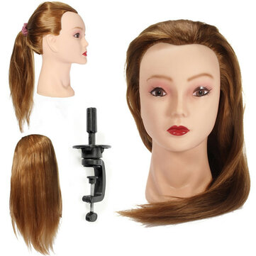 Golden Long Straight Hair Training Head Cutting Practice Mannequin Clamp Holder Hairdressing Braidin