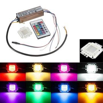 หลอดไฟขนาด 100W RGB Chip Waterproof LED ชุดจ่ายไฟของ Driver พร้อมตัวควบคุม รีโมท