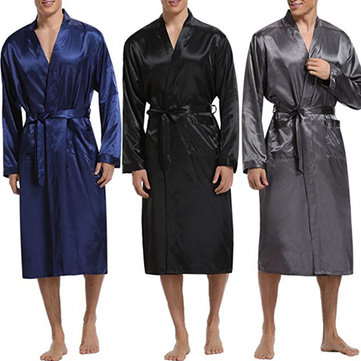 Mens Comfortable Mid Long Bathrobe Lightweight Sleepwear Loungewear