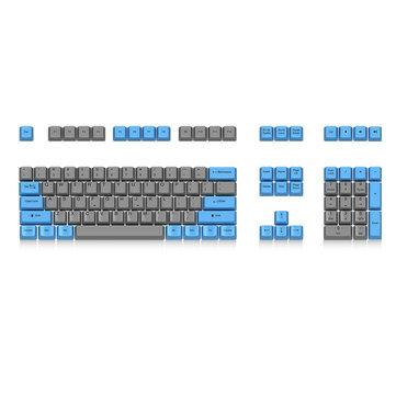 Akko X Ducky 108 Key OEM Profile PBT Retro Grey Blue Keycaps Keycap Set for Mechanical Keyboard