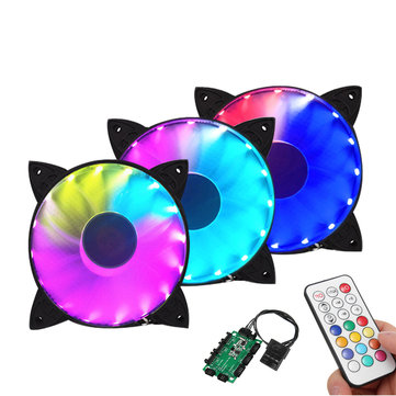 Coolmoon 30000Hrs 3PCS 120mm RGB Adjustable LED Cooling Fan with Controller Remote For PC Cooling