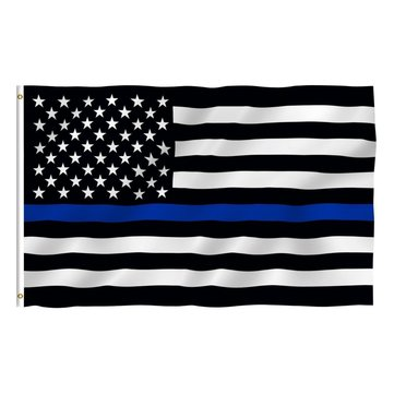 35.4 x 59inch Thin Blue Line American Flag Honoring Law Enforcement With Grommets