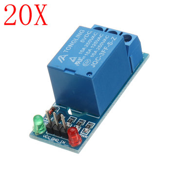20pcs 5V Low Level Trigger One 1 Channel Relay Module Interface Board Shield DC AC 220V for Arduino PIC AVR DSP ARM MCU