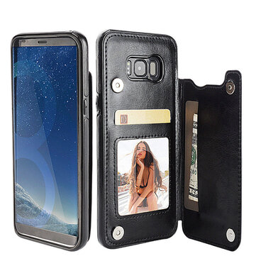 Magnetic PU Leather Wallet Card Slot Bracket Case for Samsung Galaxy S8