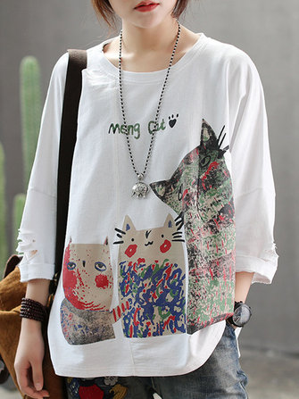 Women Cartoon Print Long Sleeve T-shirts