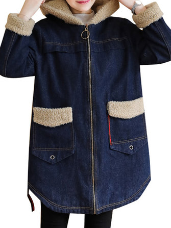 Women Casual Long Sleeve Fleece Thicken Denim Coats
