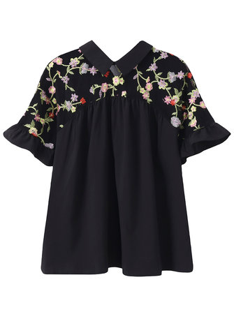 Women Sexy Lace Embroidery Tops Turtleneck Blouses Short Sleeve Shirts