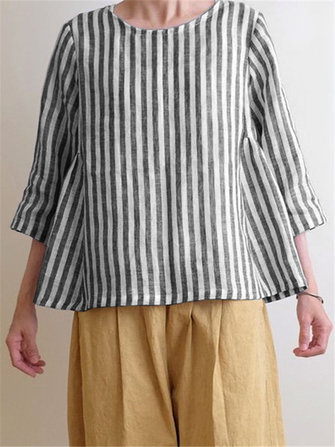Women Crew Neck 3/4 Sleeve Casual Cotton Striped Blouse