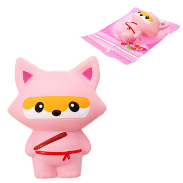 Squishy Pink Fox Ninja Soft Toy 13.5CM Slow Rising With Packaging Collection Gift Bag Keychain Pendant Toy