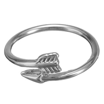 Punk Gold Silver Arrow Through A Heart Wrap Opening Rings Adjustable for Women