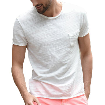 Mens Cotton Breathable Soft Comfy Crew Neck Solid Color T-shirts Tees