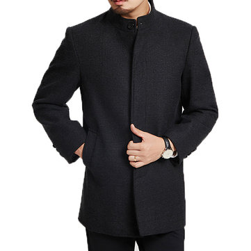 Casual Stand Collar Mid-long Trench Coat