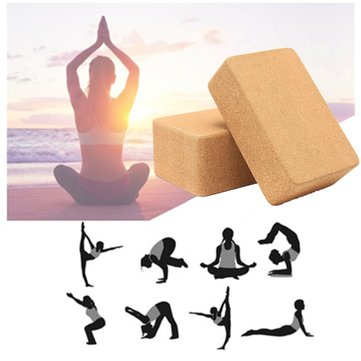 Yoga Cork Block Home Stretch Gym Fitness Exercise Pilates Brick