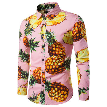 Mens Pineapple Printing Hawaiian Beach Casual Shirt