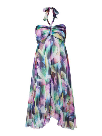 Women Halter Multicolor Feather Printed Beach Chiffon Dress