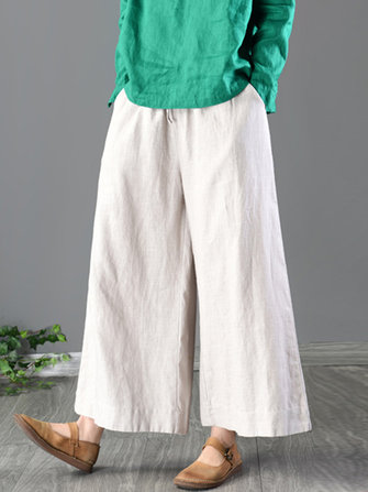 Plus Size Women Cotton Wide Leg Pants with Pockets