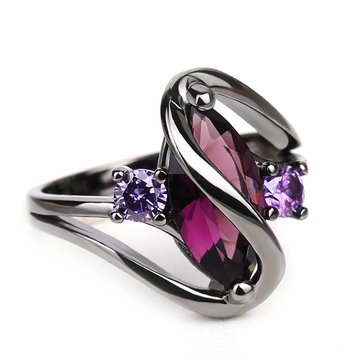Women's Trendy Amethyst Gun Black Plated Purple Engagement Rings Gift