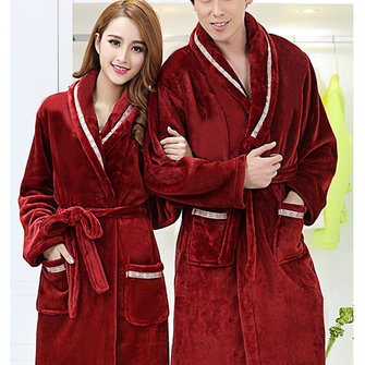 Women Men Winter Flannel Robes Long Thick Coral Velvet Couples Sleepwear Bathrobe Lungewear Sleeplounge