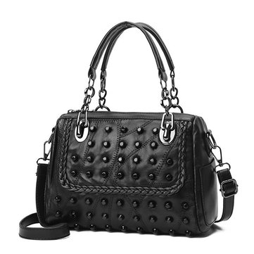 Women Stitching Leather Handbags Rivet Shoulder Bags