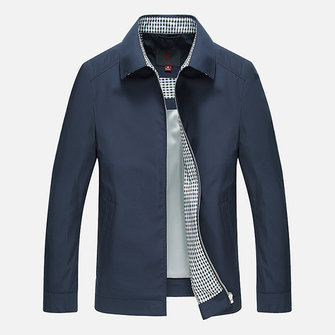 Mens Casual Down-Down Collar Solid Color Business Coat Lente Herfst Donkere Water Repellent Jacket