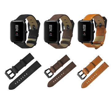 20mm Genuine Leather Watchband Replacement for HUAMI AMAZFIT