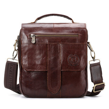 FUZHINIAO Men Genuine Leather Messenger Bag Crossbody Shoulder Male Bags Small Flap Handbag