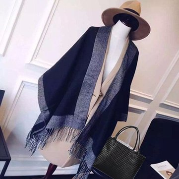 Women Ladies Cashmere Blend Scarf Patchwork Plaid Poncho Cape Poncho Wrap Shawl Blanket Cloak