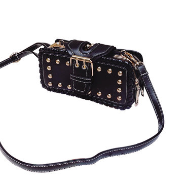 Women Retro PU Leather Bag Rivet Rectangular Purse Wallet Case Zipper Phone Bag
