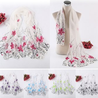 Women Scarf Long Soft Flower Printed Wrap Shawl Stole Beach Towel