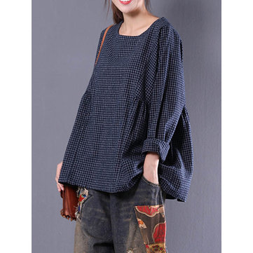 Women Crewneck Check Loose Baggy Blouse