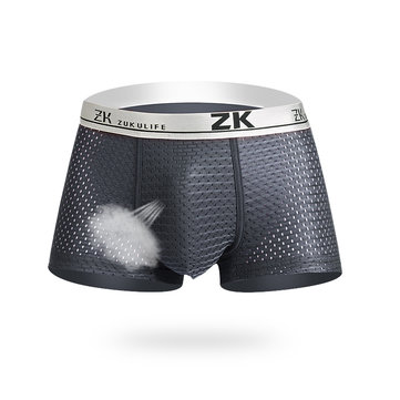 ZK Mens Honeycomb Mesh U-shaped Pouch Boxers Casual Breathable Antibacterial Plus Size Underwear