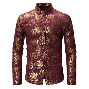 Mens Sequin Rose Printed Banquet Club Stage Casual Shirts