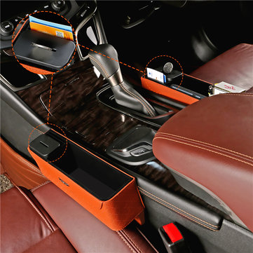 PU Leather Car Seat Gap Storage Box Money Pot Grain Organizer Gap Slit filler Phone Holder