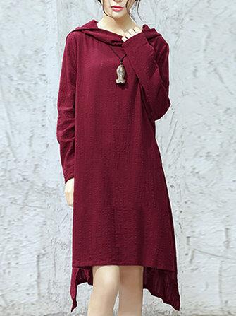 M - 5XL 캐주얼 여성 후드 긴 소매 순수 컬러 비대칭 드레스