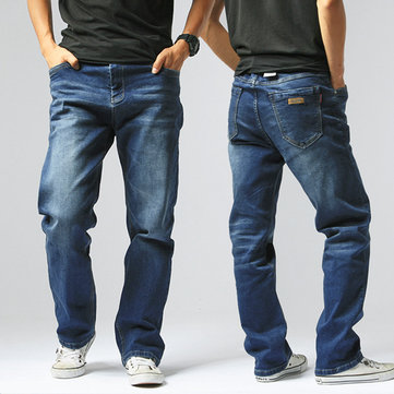 Mens Elastic Casual Loose Straight Jeans Size 30-42