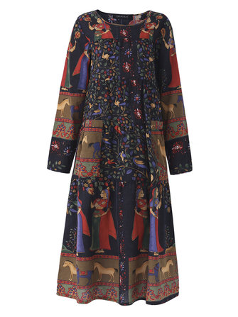 Gracila M-5XL Ethnic Women Printed O-neck Vintage Dress