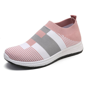 Women Casual Light Mesh Color Stitching Slip On Sneakers