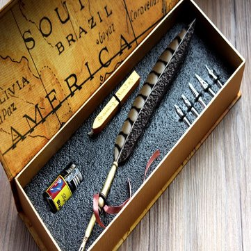 Vintage Chicken Pheasant Feather Quill Metal Nib Dip Pen Writing Ink calligraphy Fountain Pens