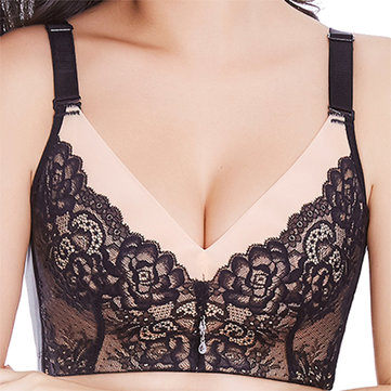 Woman Sexy Floral Lace Embroidery Wire Free Tops Soft Gather Adjustment Push-Up Bra