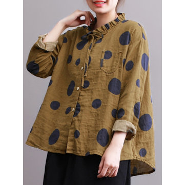 Casual Women Polka Dot Print Stand Collar Long Sleeve Blouses