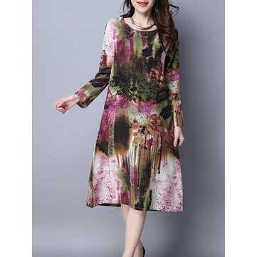 Women Vintage Pocket Imprimé Robes Long Sleeve O-Neck Mid Dress
