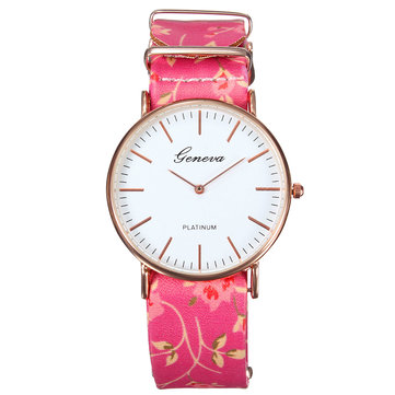 Casual Women Rose Floral PU Leather Band Analog Quartz Stylish Wrist Watch