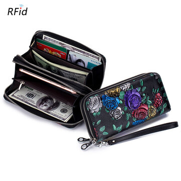 Women Print National Style Leather Long Wallet Card Holder
